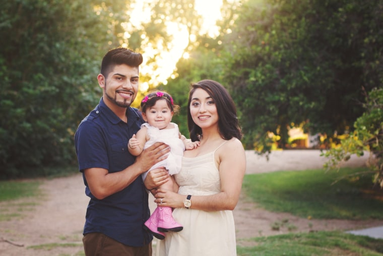 Angelica Hernandez and her husband Juan Amaya, pictured here with their daughter Addison, are engineers and were able to pursue a degree thanks to DACA.