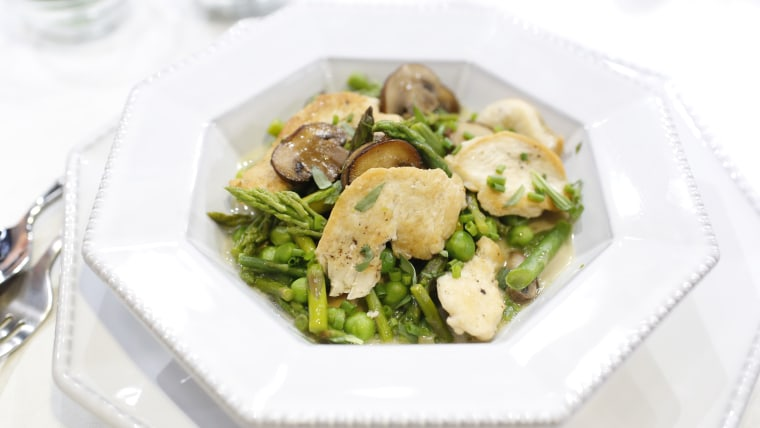 Michael Lomanaco makes a creamy one-pan chicken with peas and asparagus