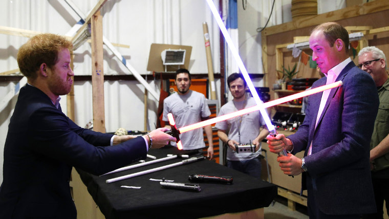 Prince William + Harry meet Star Wars