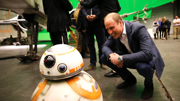 Image Prince William speaks with BB8 while visiting Star Wars set