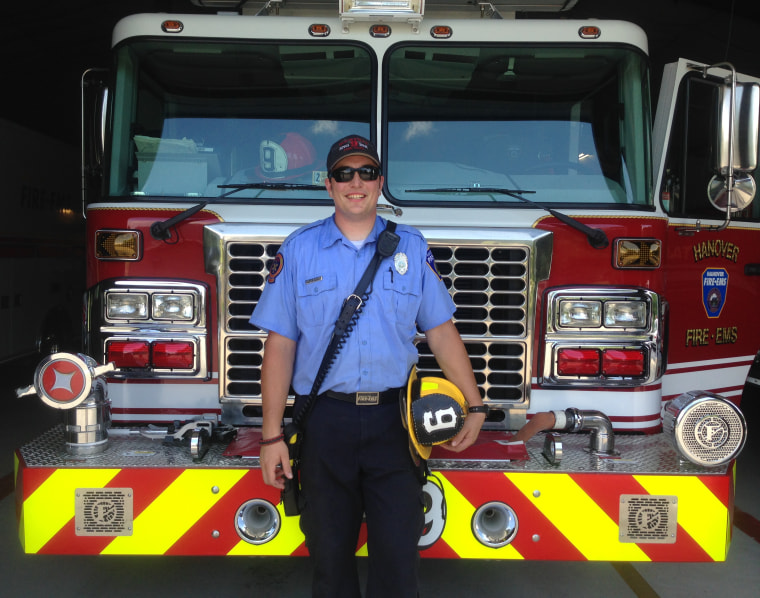 Matt Howell at work at Hannover Fire and EMS in Virginia. Thanks to his training at a firefighter and EMT, Howell helped a runner having a heart attack during a 10K.