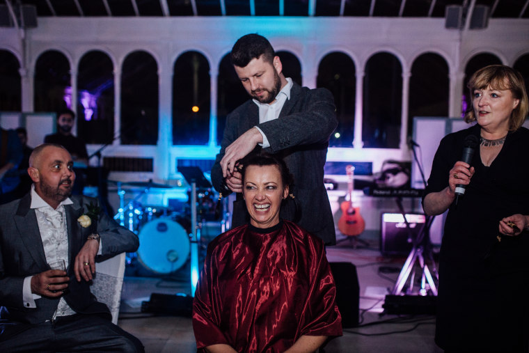 Joan Lyons shaved her head on her wedding day