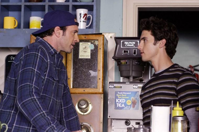 Scott Patterson and Milo Ventimiglia in Gilmore Girls