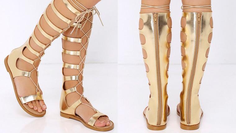 Lulu's CHINESE LAUNDRYChinese Laundry Galactic Gold Tall Gladiator Sandals