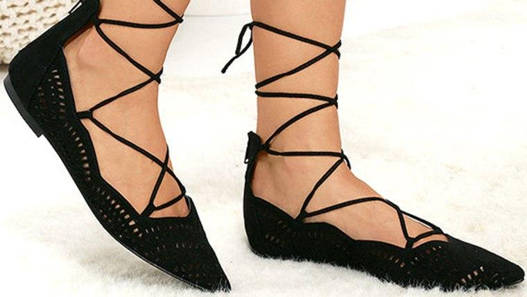 Lulu's Laced Waltz Black Cutout Lace-Up Flats