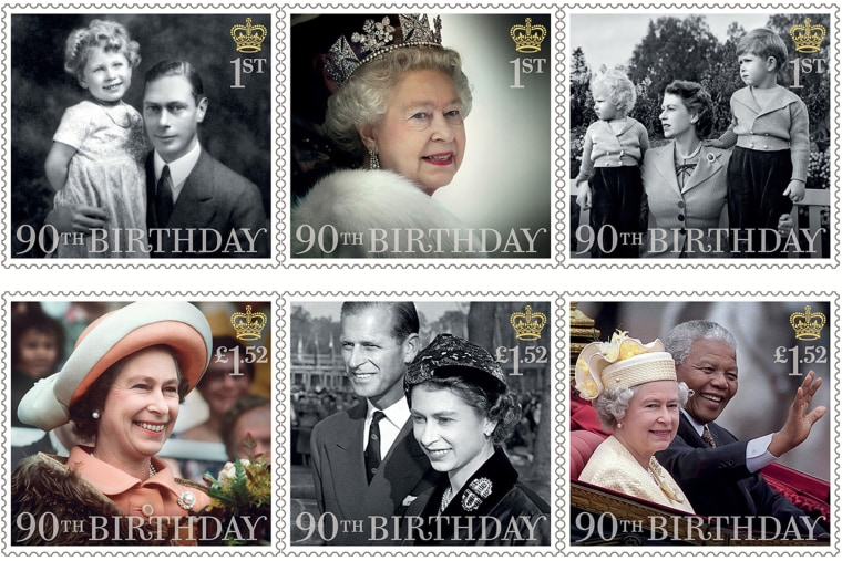 six stamps issued to mark the 90th birthday of Queen Elizabeth II