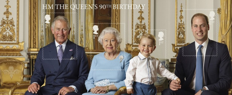 stamp sheet issued by the Royal Mail to mark the 90th birthday of Queen Elizabeth II