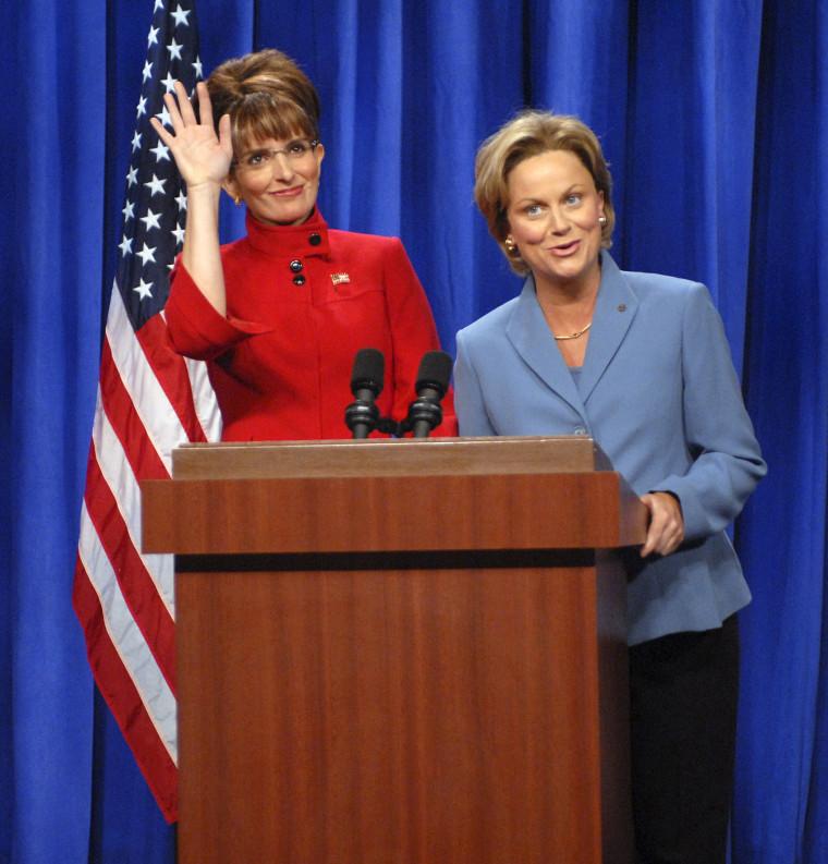 Tina Fey as Governor Sarah Palin and Amy Poehleras Senator Hillary Clinton