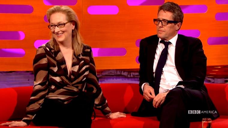 Image of Hugh Grant and Meryl Streep on the Graham Norton Show