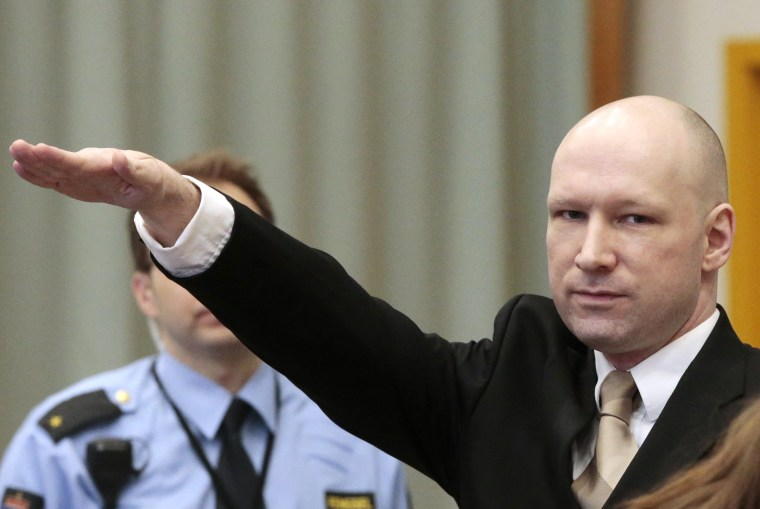 Image: Anders Breivik made a Nazi gesture during last month's court appearance.