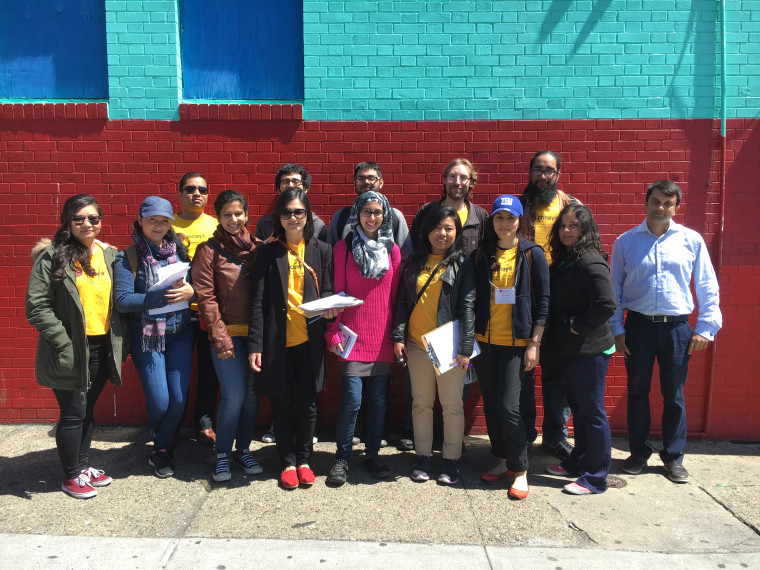 Volunteers with Chhaya prepare to go door-knocking April 16, 2016, to get out the vote for New York's Democratic and Republican primaries.