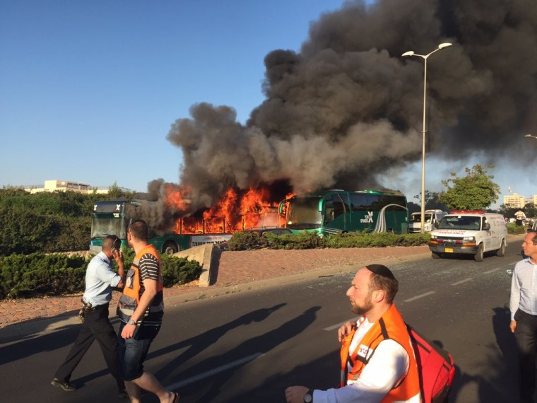 A bus burns in Jerusalem on April 18.