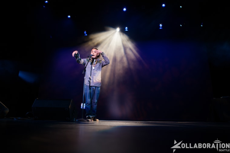 "George ""G"" Yamazawa, a spoken word poet and rapper, performing at Kollaboration Seattle."
