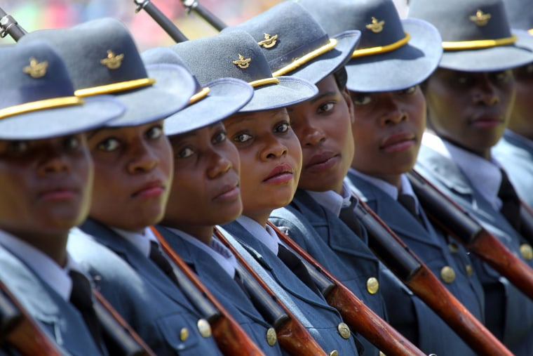 Image: Members of the Air Force of Zimbabwe march during Zimbabwe's 36th Independence celebrations