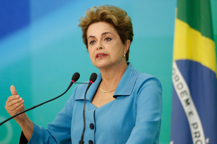 Image: President of Brazil Dilma Rousseff speaks at a press conference