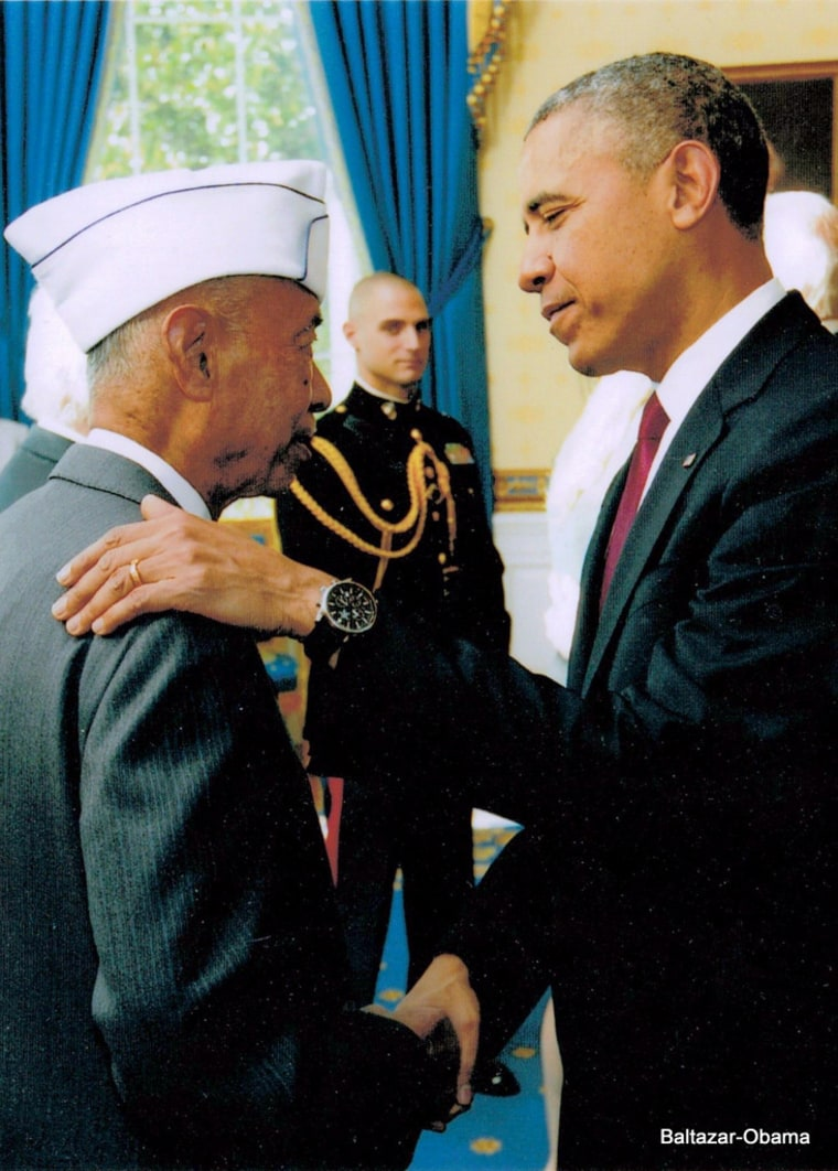Jesse Baltazar meeting President Barack Obama at the White House on Veterans Day 2013.