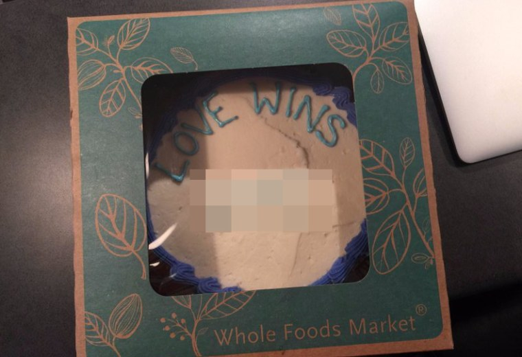 Austin Pastor Jordan Brown tweeted this photo of a cake he said he'd ordered at Whole Foods. NBC News has blurred out a section of the cake that contains a gay slur.