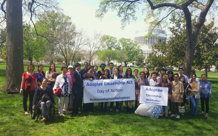 Adoptees and their supporters visiting Washington, D.C. to meet with politicians regarding the Adoptee Citizenship Act.