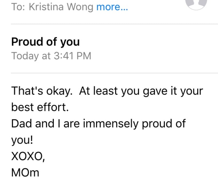 A screenshot of the email Kristina Wong's mother sent her following the Pulitzer Prize announcements.