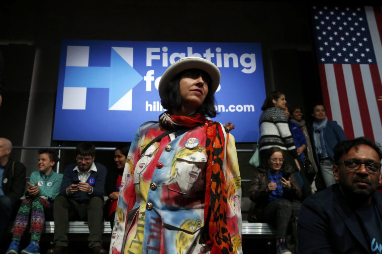 Image: A supporter of U.S. Democratic presidential candidate Clinton wears a pair of pants imprinted with her image at her New York presidential primary night rally in New York