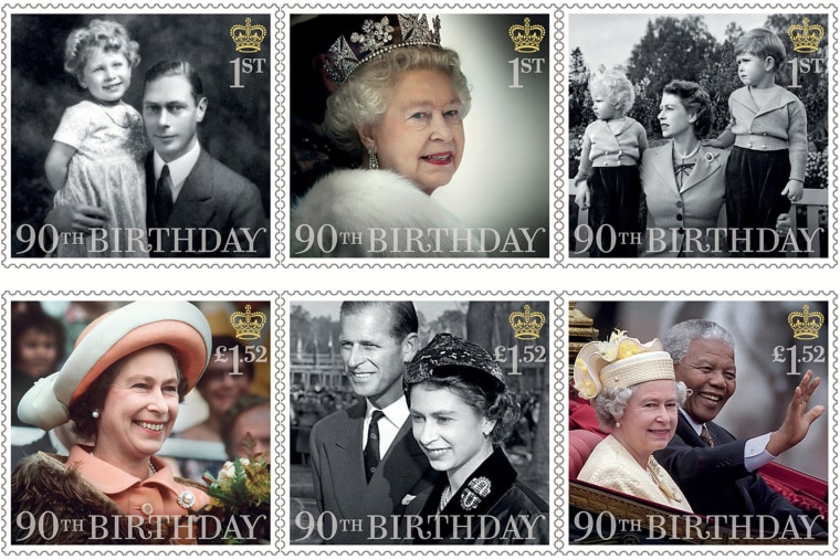 Image: Royal Mail stamps marking Queen Elizabeth II's 90th birthday