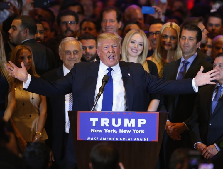 Image: Republican Presidential candidate Donald Trump speaks after winning the New York state primary