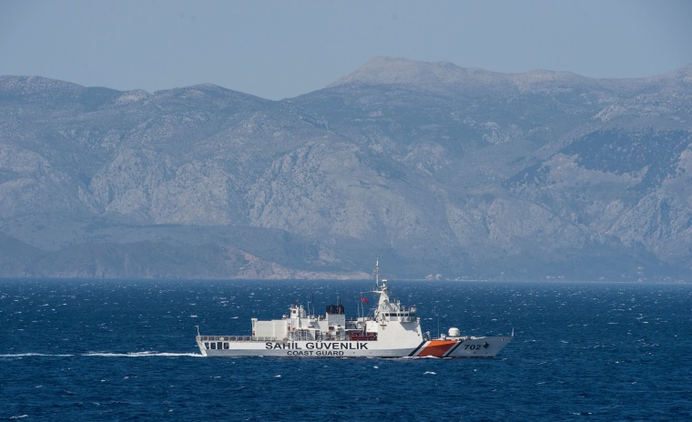 Image: A Turkish coast guard ship patrols the Aegean Sea in search of migrants on Wednesday.