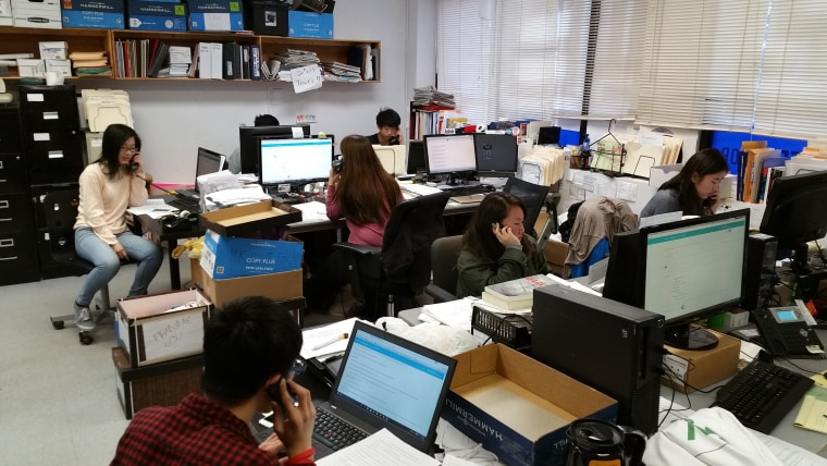 MinKwon Center volunteers phone banking during New York's presidential primary April 19, 2016.