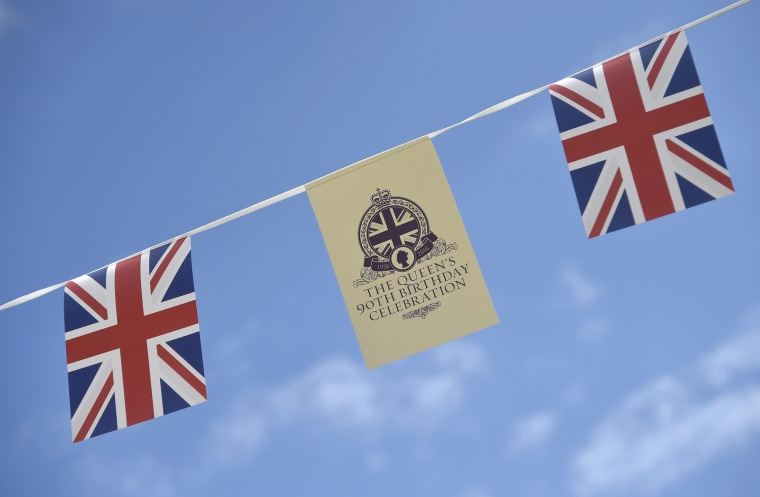 Image: Bunting themed for the forthcoming birthday of Britain's Queen Elizabeth, is seen in Windsor Britain