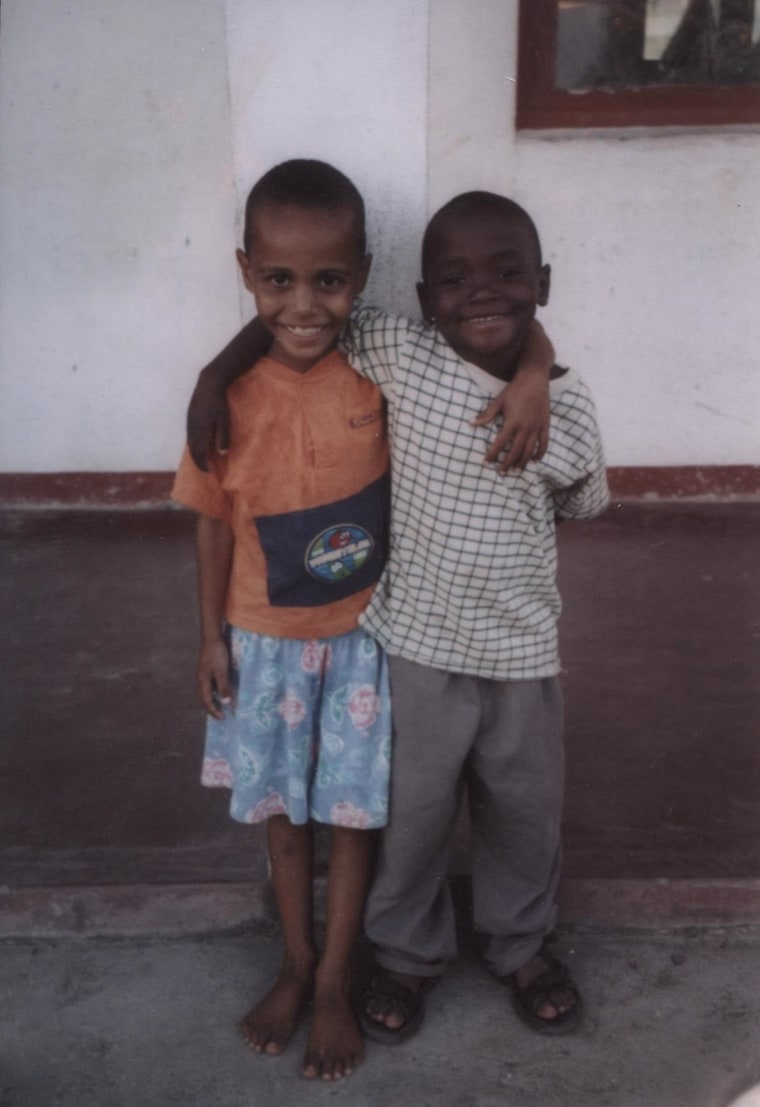 Afonso Slater (right) and Kelvin Lewis as young boys in a Mozambique orphanage.
