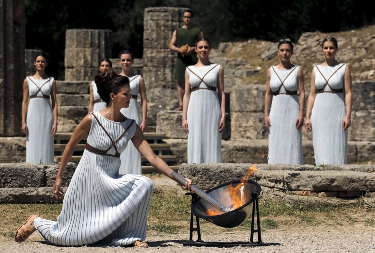 Image: Dress rehearsal for the Olympic flame lighting ceremony for the Rio 2016 Olympic Games takes place at the site of ancient Olympia in Greece