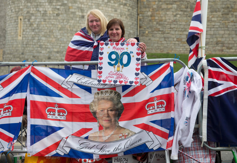 Image: Royal supporters outside Windsor Castle, west of London