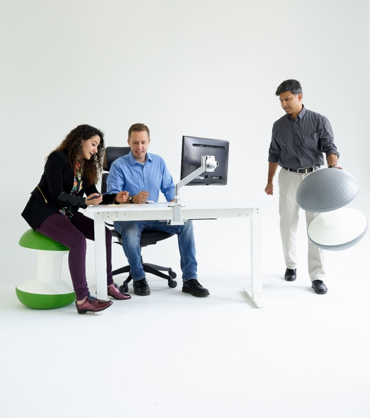 Ballo is an imaginative take on traditional ball chairs, supporting flexibility and freedom of movement with a compact central column and lightweight air-filled domes.