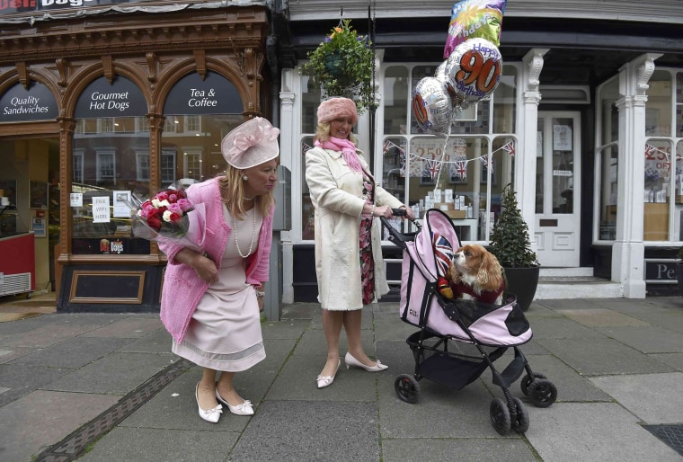 Image: Royal fans with a dog in a buggy gather to celebrate Queen Elizabeth's 90th birthday in Windsor