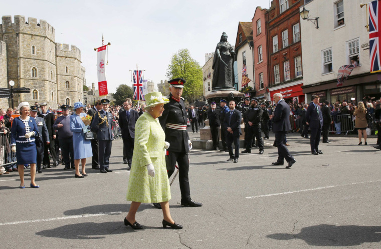 Image: Britain's Queen Elizabeth walks past well wishers on her 90th birthday, in Windsor, west of London
