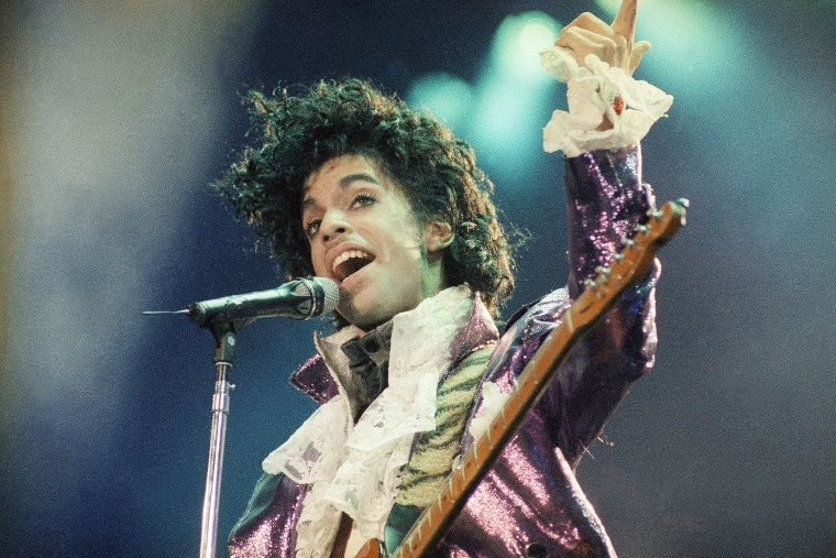 Prince performs at the Forum in Inglewood, California on Feb. 18, 1985.