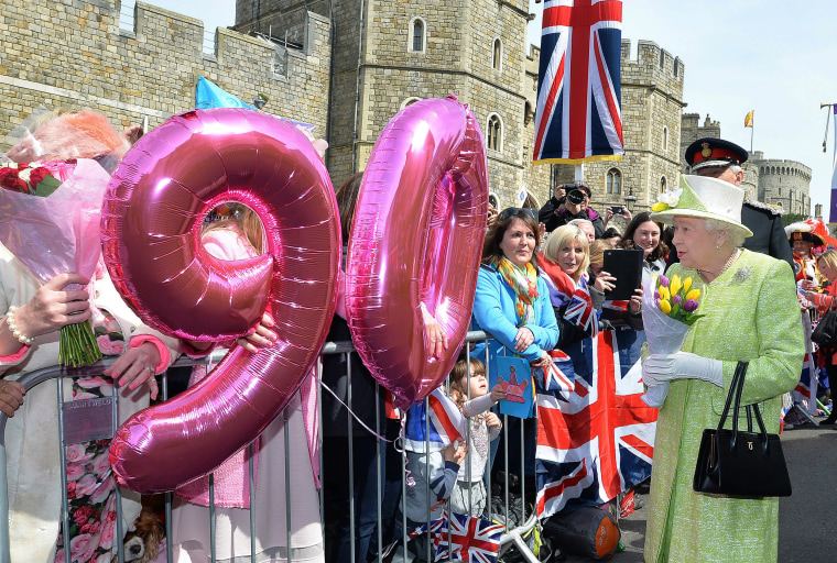 Image: Britain's Queen Elizabeth II meets well wishers during a walkabout close to Windsor Castle