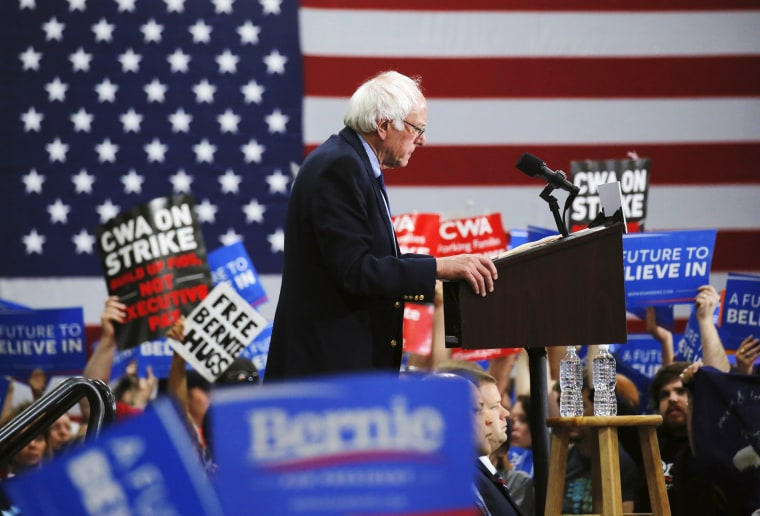 Image: Democratic U.S. presidential candidate Bernie Sanders speaks to supporters during a campaign rally in Oaks, Pennsylvania