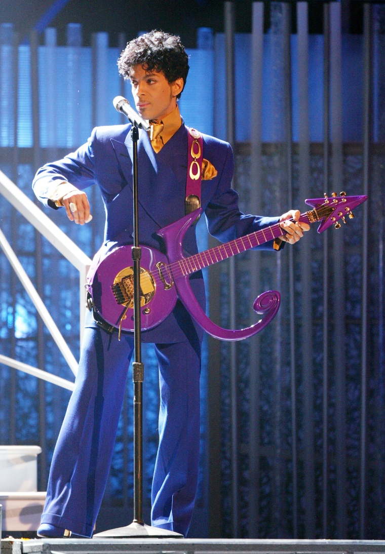 Image: Prince performs at the 46th Annual Grammy Awards on Feb. 8, 2004 in Los Angeles, Calif.