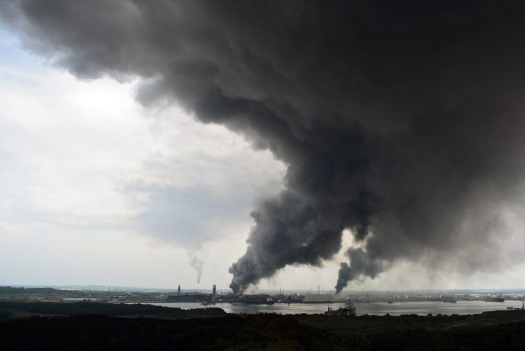 Image: Smoke rises from the plant after the explosion