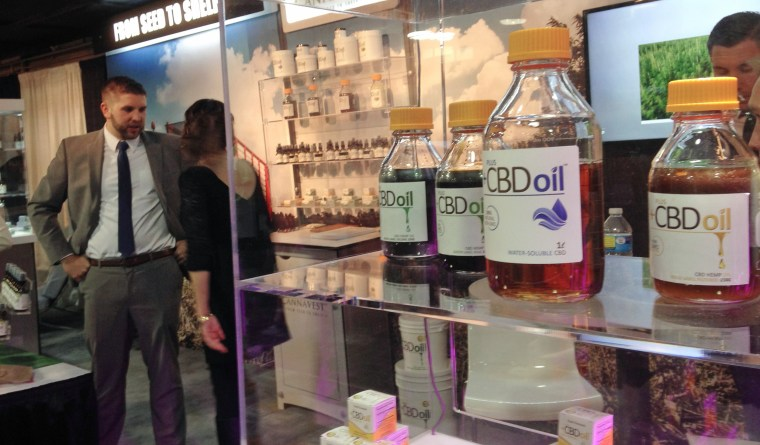 """Oil containing CBD from """"agricultural hemp"""" -- a strain of marijuana that is low in THC -- is displayed at the Marijuana Business Conference & Expo in Chicago on May 24, 2015."""