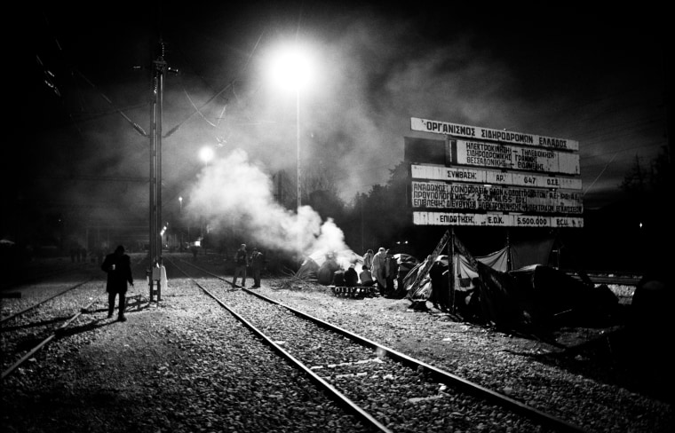 Nighttime at the border crossing between Greece and Macedonia - Idomeni, Greece. Nov. 20.