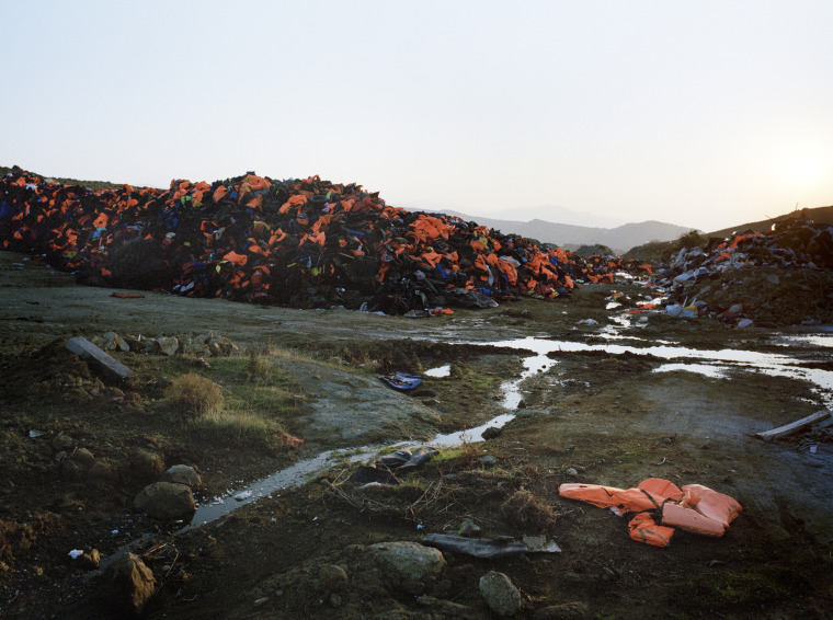 Visiting the municipal dump near Molyvos gives a true scale of the crisis in Lesvos on Nov. 1.  A mountain of life jackets, each jacket represents a life and a story. Shockingly many of the life jackets, bought in Turkey, are fake.  -