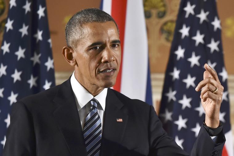 Image: Obama speaks during a press conference
