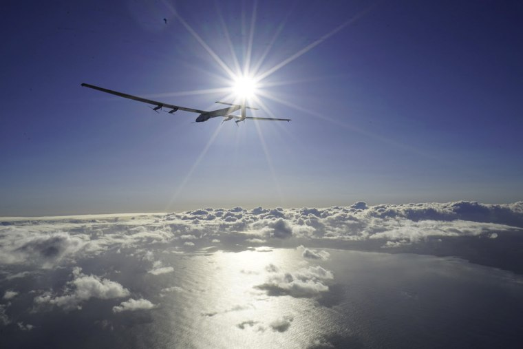 Image: Handout photo of Solar Impulse 2 piloted by Bertrand Piccard rising from the tarmac in Kalaeloa, Hawaii