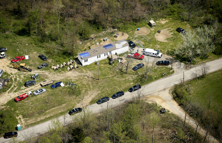 This aerial photo shows one of the locations being investigated in Pike County, Ohio, as part of an ongoing homicide investigation, April 22.