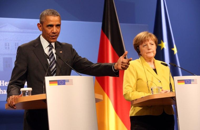 Image: U.S. President Obama Meets Angela Merkel In Hanover