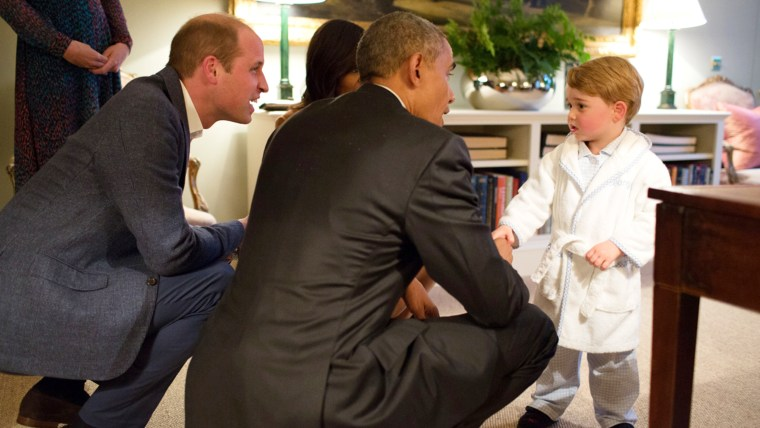 Image of Prince George meeting with President Obama at Kensington Palace