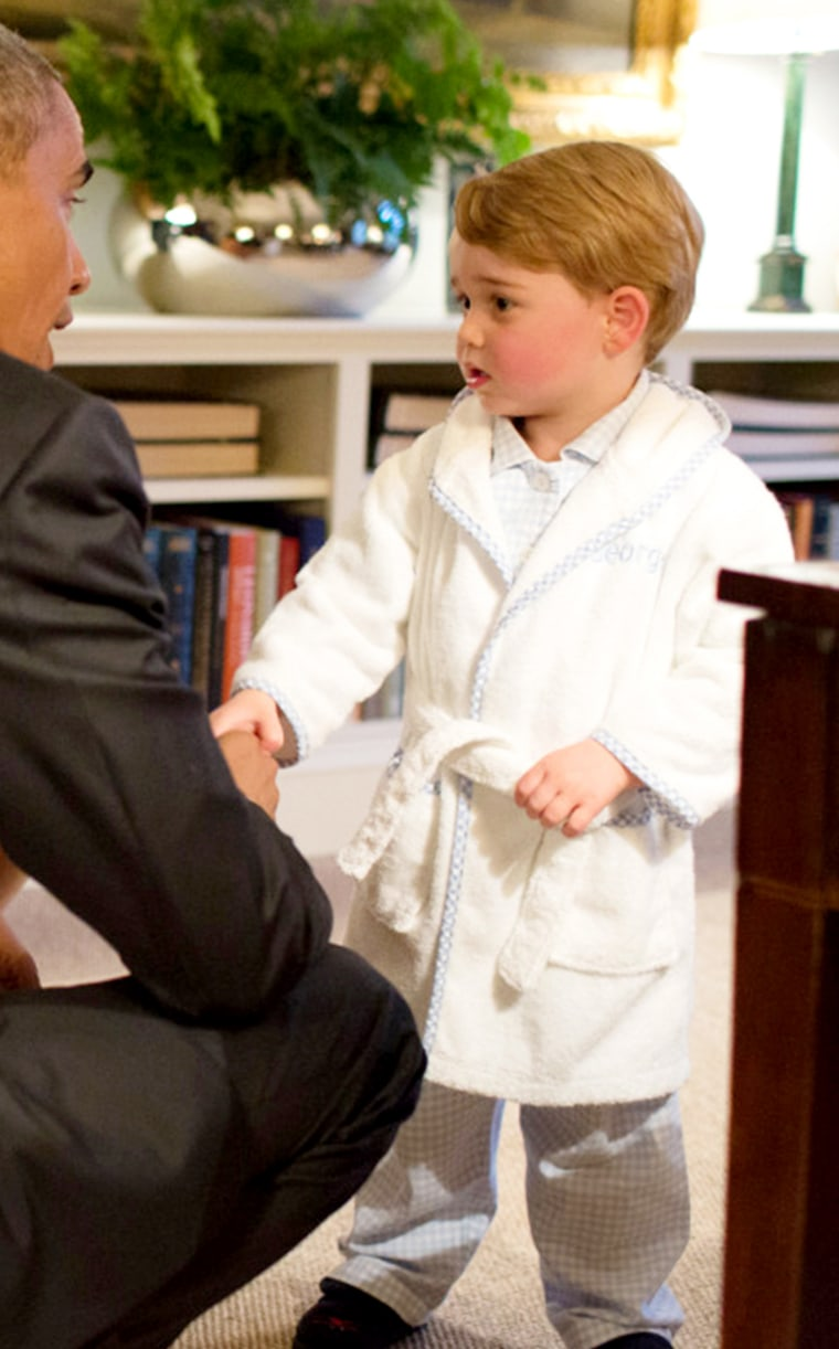 Image of Prince George shaking hands with President Obama