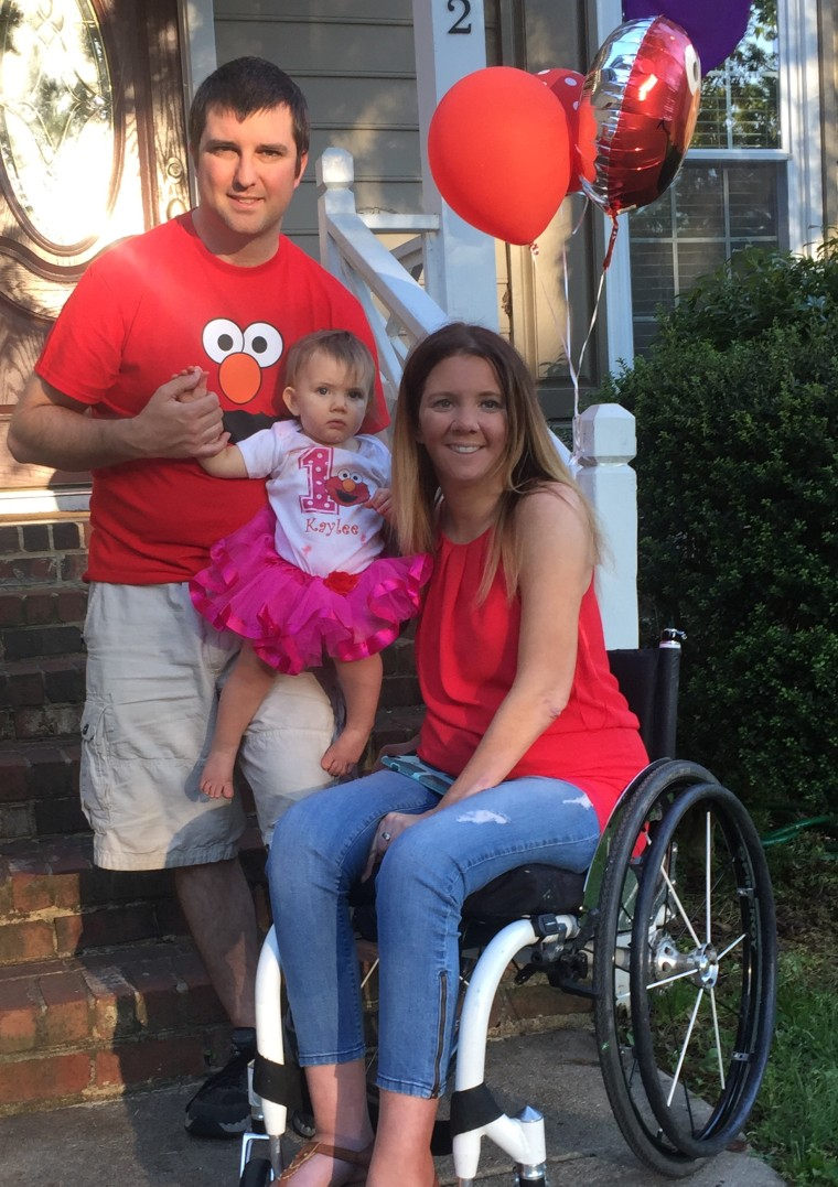 Rachelle Chapman, aka the paralyzed bride, with her family